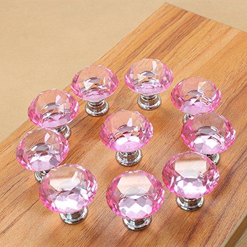 Zink Legierung Kristall Schublade Griff, luxuriöse Kristall Knöpfe mit Schraube für Schublade Schrank Möbel Küche Home Dekorieren, Schleifenapplikation, rosa -