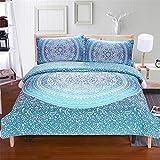 LJJYF Man Bettwäsche-Sets Schlafzimmer,3D gedruckt Polyester Baumwolle Phantasie Stil bettwäschesatz, bettbezug und Kissenbezug, Junge Schlafzimmer Single, doppel super King-Blue_259 * 229 cm (3pcs)