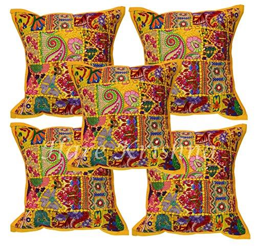 Hare Krishna Patchwork Stickerei Design Bürostuhl Sofa Kissenbezug Bett Kissenbezüge 5 Stück Set (gelb) 40 x 40 cm