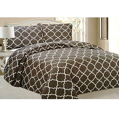 Todd Bettwäsche Queen Tagesdecke Quilt 3-teilig weich Gesteppte Betten–Luxuriöse bequem Mikrofaser Decke + 2kissenrollen (braun Geometrische) (Hotel Grand Bettbezug)