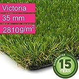 Kunstrasen Rasenteppich Victoria für Garten - Florhöhe 35 mm - Gewicht ca. 2810 g/m² - UV-Garantie 15 Jahre (DIN 53387) - 2,00 m x 0,50 m | Rollrasen | Kunststoffrasen