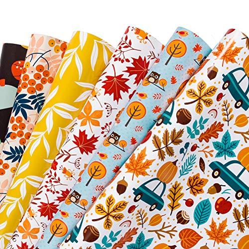 RUSPEPA Geschenkpapier Blatt - Ahornblatt Und Kürbis Herbst Design Für Herbst Feiern, Geburtstag, Urlaub, Hochzeit, Baby-Dusche - 6 Blatt - 44,5 X 76 CM Pro Blatt