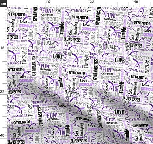 Gymnastik, Turner, Sport, Lila, Olympisch, Trikot Stoffe - Individuell Bedruckt von Spoonflower - Design von Heathertm13 Gedruckt auf Fleece (Lila Trikots Für Erwachsene)