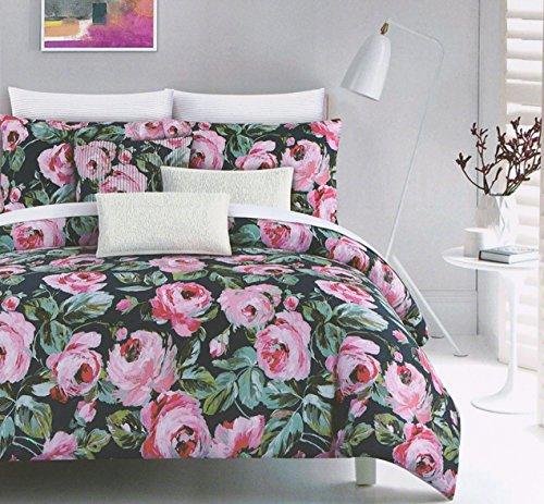 Luxuriöses Blumenmuster Watercolor Bettbezug von Cynthia Rowley, Blush Pink und Grau Blooming Garden auf weiß 3Stück Baumwolle Bettwäsche-Set 300Fadenzahl, baumwolle, Peacock Navy, Queen -