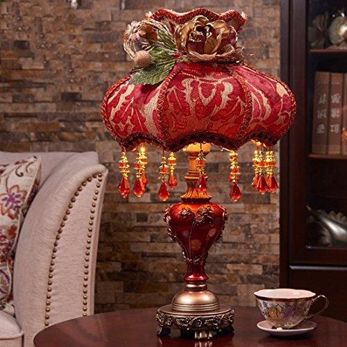 Klassische Kristall Tischlampe Licht Stoff Vintage Retro Europäischen Palast Stil Schlafzimmer Tischlampe Licht Für Bett Wohnzimmer Schlafzimmer,Red (120v-licht-schalter)