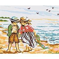 Collection D'Art A35 Chasse aux Coquillages Canevas Imprimé à Broder Coton Multicolore 25 x 30 x 0,1 cm