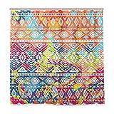 Duschvorhang aus Stoff mit Ethno-Muster, Wasser- und schimmelresistent, Polyestergewebe mit 12 Kunststoffhaken, 180 x 180 cm
