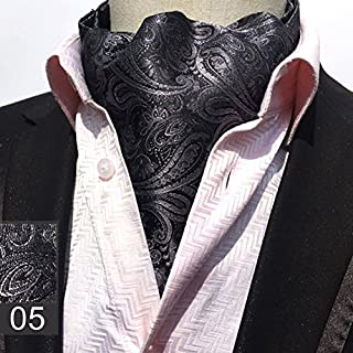 VANKER Gentleman Style Floral Silk Cravat Neck Tie Ascot Necktie for Men #5