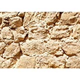 Vlies Fototapete 200x140 cm PREMIUM PLUS HiQ - OEKO-TEX Standard 100 Foto Tapete Wand Bild Vliestapete - ROCK STONE WALL - Steinwand Steintapete Wand Wall Beige Felsen Große Steine - no. 0025