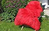Alpenfell Schaffell Lammfell Rot - 110-120cm echtes Fell - Premium Qualität