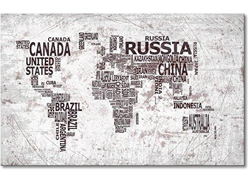 """WandbilderXXL® Gedrucktes Leinwandbild""""Weltkarte Nr.22"""" 80x50cm - in 6 verschiedenen Größen. Fertig gespannt auf Holzkeilrahmen. Günstige Leinwanddrucke für Kinderzimmer Schlafzimmer."""
