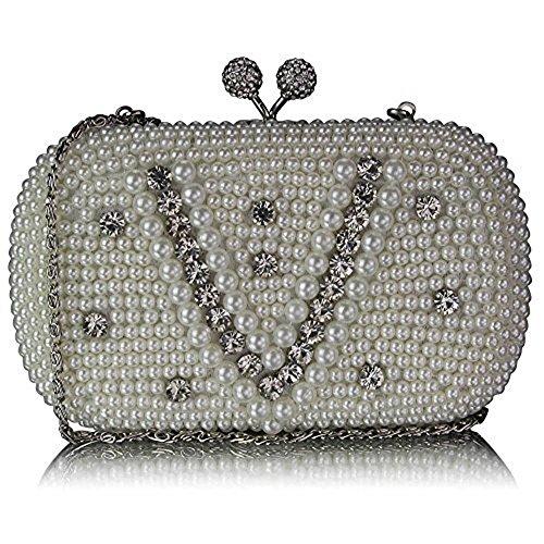 TrendStar Damen Handtaschen Damen Designer Abendabschlussball -Partei-Satin-Clutch Elfenbein 3