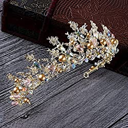 New Baroque Handmade Beaded Luxury Pink Gold Crowns Crystal Hair Accessories (Gold)