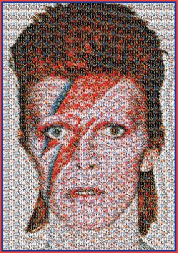 David Bowie Poster Unique Mosaic A1 Large (made of tiny Bowie photos) Rare