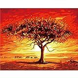 DIY digitales Ölgemälde, Malen nach Anzahl Kit für Home Wall Decor Kunst Geschenk, Elefanten im Sonnenuntergang, 16 * 20 Zoll, Ohne Rahmen