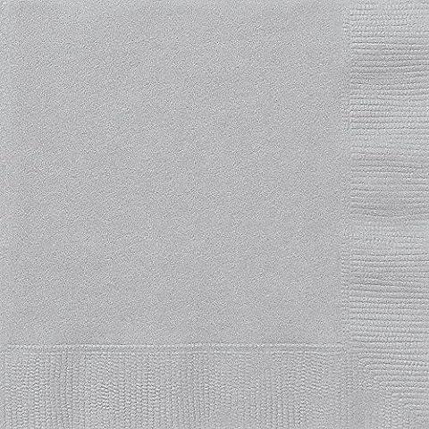 Unique Party - 33442 - Paquet de 50 Serviettes en Papier - 16,5 cm - Argent
