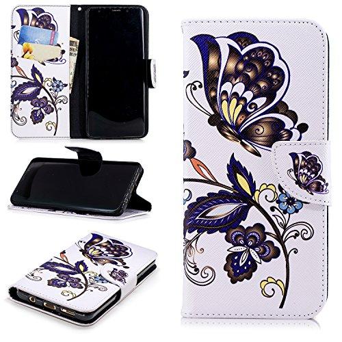 Artfeel Samsung Galaxy S9 Plus Leder Flip Brieftasche Hülle,Niedlich Weißer Schmetterling Muster Malerei Magnetverschluss Standfunktion Handyhülle mit Kartenfach und Geldbörse,Weiche Silikon Innenschale Bumper Stoßfest Schutzhülle für Samsung Galaxy S9 Plus