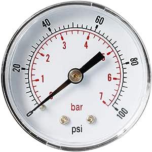 H HILABEE 0-160psi 0-11bar Manom/ètre de Pression deau dair Manom/ètre /à Montage pour Cadran dHuile dair deau TS-Y408