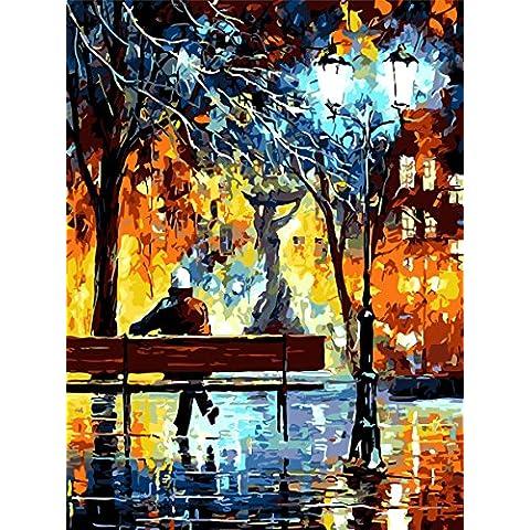 IPLST@ Senza cornice digitale dipinti ad olio da Numeri, paesaggio Heavy Texture Lungo Bench Autumn Scenery Pittura a olio su tela, arte moderna decorazione da parete, diy pittura a olio Kit-16x20 inch - Lungo Un Fotogramma