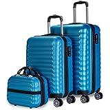 NEWTECK Lot de 3 valises et trousse de toilette bleu, moyenne 63cm, petite 53cm et trousse de toilette, ABS, rigides, résista
