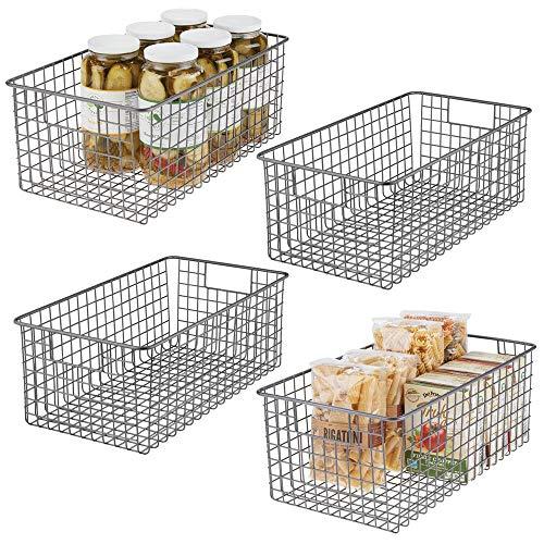 mDesign 4er-Set Allzweckkorb - kompakter Aufbewahrungskorb aus Metall mit Griffen - universelle Gitterbox für Küche, Bad und andere Räume - grau