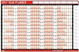 2017 A1 Laminated Yearly Wall Planner Calendar With Wipe Dry Pen & Sticker Dots