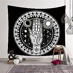 Tapiz de tarot para decorar tu pared con diseño de luna, sol y fractales. Energía mística para dormitorio o salón. 150 x 130 cm