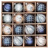 Valery Madelyn Palline di Natale 16 Pezzi 8Cm Palline di Natale in Plastica Decorazioni Natalizie con Gancio Decorazioni Albero di Natale per La Decorazione Inverno Tema dei Desideri Argento Blu