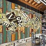 HONGYAUNZHANG Painted Englisch Font Benutzerdefinierte Fototapete 3D Stereoskopischen Wandbild Wohnzimmer Schlafzimmer Sofa Hintergrund Wandmalereien,260Cm (H) X 340Cm (W)