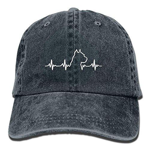 TGSCBN Denim Stoff verstellbare Pit Bull Heartbeat Soft Baseball Cap Sport - Bull Denim Stoff