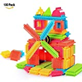 NEEDOON 100pcs Bristle Blocks Building Set Educational Stacking Jouets de Bain pour Enfants en Bas âge Enfants