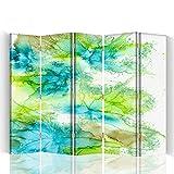 Feeby - Raumteiler - Trennwände – Foto Paravent – Spanische Wand - Bedruckt aufLeinwand – Trennwand – Deko Design – Paravent einseitig - 5 teilig 180x180 cm - Bloomnjazz - Farbe Abstrakt Blau Grün Weiß