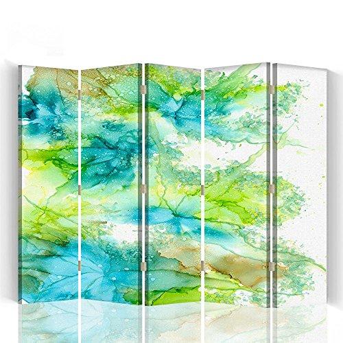 Raumteiler Trennwände Foto Paravent Spanische Wand Bedruckt aufLeinwand Trennwand Deko Design Paravent beidseitig 5 teilig 360° 180x150 cm Bloomnjazz Farbe Abstrakt Blau Grün Weiß