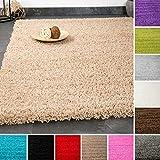 VIMODA Prime Shaggy Teppich Grau Hochflor Langflor Teppiche Modern für Wohnzimmer Schlafzimmer Einfarbig 70x140 cm