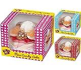 Look-O-Look Mini Candy Cake Geschenkverpackung mit Mini-Tortenkreation aus 15 Schaumzucker- und Fruchtgummi-Stücken mit Fruchtgeschmack auf Kunststoff-Unterlage