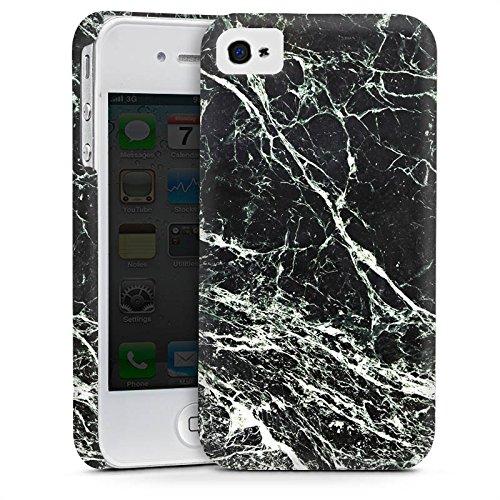 Apple iPhone 4 Housse Étui Silicone Coque Protection Look marbre noir Marbre noir Marbré Cas Premium mat