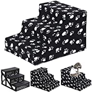 Yaheetech Plush Covered Pet Stairs 3 Soft Steps for Dog Cat, Washable Cover Ramp, Black Claw