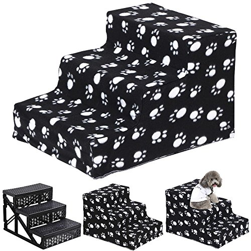 Popamazing Plush Covered Pet Stairs 3 Steps for Dog Cat (Black Claw)