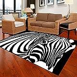 Shuzhen,Tappetino per camera da letto Unico modello popolare con motivo zebrato Tappetino antiscivolo morbido antiscivolo(color:NERO BIANCO,size:80x120cm)
