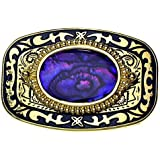 Dorado Hebilla con real piedra de nácar en violeta, Hebilla