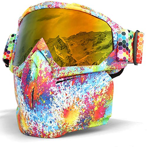 Smarcent Ski Snowboard Snowmobile Goggles Mask Motorcycle Goggles Mask Protect Padding Helmet Sunglasses (Rainbow)