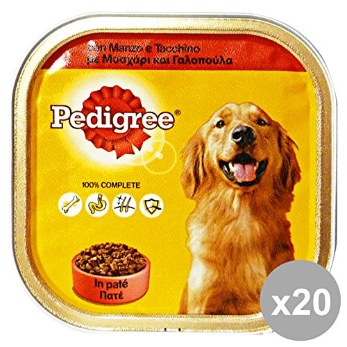 Set 20 PEDIGREE 300 Gr. Umido Patè DI Manzo-Tacchino Cibo per cani