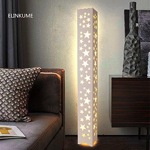 ELINKUME lámpara de pie estrellas forma hueco tallado LED lámpara de pie de madera de PVC blanco caliente placa de plástico materiales interruptor de pedal iluminación de decoración perfecta para dormitorio, sala de estar (AC200-230V)