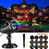 SUGIFT LED Projector Lights, Christmas Lights with 12 Switchable Patterns/Slides,Waterproof Landscape Projector Lamp, Outdoor/Indoor for Halloween, Christmas, Holiday, Party, Garden Decoration