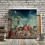 OOFAYWFD Spruzzo Stampato Pittura A Olio Scuro Ferris Wheel Wall Decor Art Su Tela,8 * 8