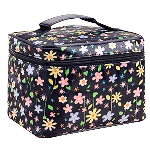 2 Pcs Durable Sac à main Floral Clamshell sac de rangement cosmétique