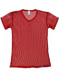 iiniim Herren Kurzarm T-Shirt Netzhemd Erotik Unterwäsche Transparent Netz  T-Shirt d6d98114d0