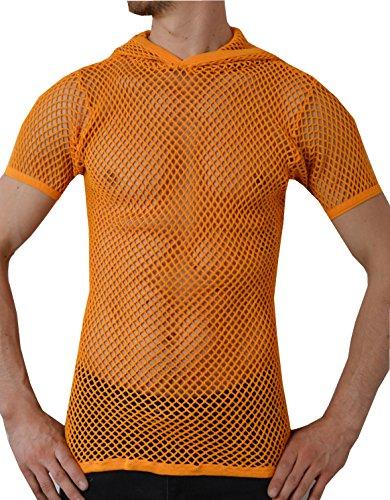 Crystal Herren 100% Baumwolle String Mesh Fischnetz Rasta T-Shirt mit Kapuze (Small, Orange)