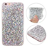 iPhone 6S Hülle, Rosa Schleife 3D Bling Case Transparent TPU Silikon Back Cover Glitzer Handyhülle Schale Etui Tasche Case Cover Beschützer Haut Case für iPhone 6/6S Silber