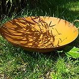 Garteninspiration Feuerschale aus Edelrost mit Griff 70 cm Durchmesser